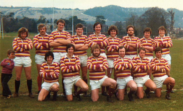 to play Old Reigations, are as follows: L to R Back row Boy-Paul Osment, Bob Andrews, Jack Saunders, Chris Mattey, Phil (Toast) Clements, Roger (the Drain) Haywood, Keith (The Tank) Corby, Alan (Boney) Bone, Steve (Mole) Murray, Chris (Pogo) Brown. Front rowL to R - Paul Davidson, Roger (Mumsy) Holland, Ian (Plum) Plummer, Brian (Bosley) Osment, Ian Haworth and Bob (Vez) Veralls.